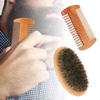 Natural Boar Bristle Beard Brush and Sandalwood Comb Set for Men