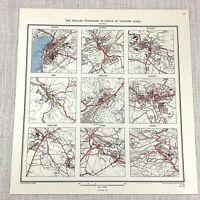 1961 Vintage Map of Kenya British Africa Township City Plan Kisumu Nakuru Kitale