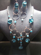 Peruvian Alpaca Silver Necklace and Earring Set~Turquoise~Glass~PN16~uk seller