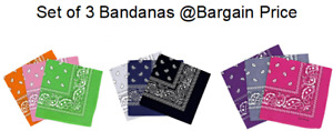 Bandanas Pack Of 3 Mixed Colours Cotton, scarf, Headband, Multifunctional bands
