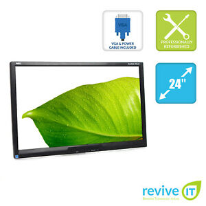 """NEC AccuSync AS242W 24"""" 1080p 1920x1080 16:9 Monitor ONLY (No Stand) - Grade B"""