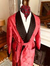VINTAGE ROBE SMOKING JACKET DRESSING GOWN M 40 C red silk & black quilted satin
