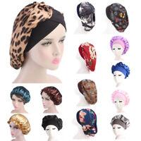 Long Hair Care Solid Satin Bonnet Cap Night Sleep Hat Silk Cap Head Wrap Adjust
