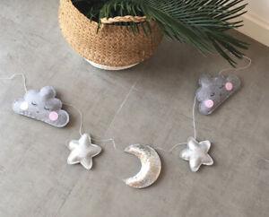 Cloud Star Moon Wool Felt Tent Wall Hanging Nursery Decor Stroller Garland Chain