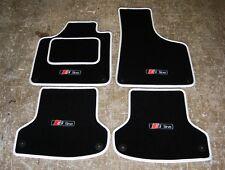 "Auricular Negro Y Blanco coche Mats-Audi A3 8p Lhd (2003-12) + ""S-line"" Logos (x4) + Fijaciones"