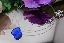 Unsichtbare Kette schwebender facettierter Glas Tropfen Blau - Nylon transparent