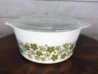 Vintage Pyrex Spring Blossom Crazy Daisy 1.5Qt Green Casserole 474-B With Lid