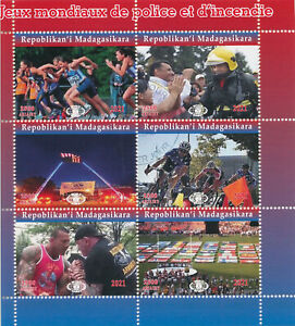 Madagascar 2021 CTO Sports Stamps World Police & Fire Games Cycling 6v M/S