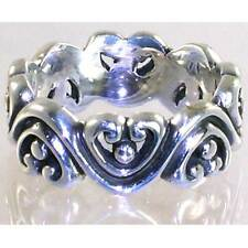 BALI DESIGNER_SWIRLING HEARTS BAND RING  SZ_7__925 STERLING SILVER