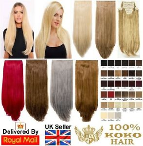 KOKO Eight Piece/Weft Straight Clip-in Extensions Looks & Feels Like Human Hair