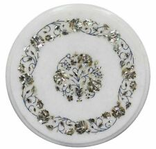 """12"""" Floral Inlay Semi Precious Stone White Corner Side Marble Table Top"""