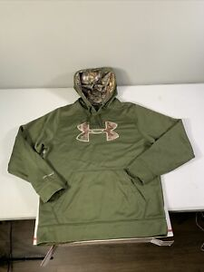 Men's Under Amour Cold Gear Storm Hoodie Sweatshirt Size M Polyester Green