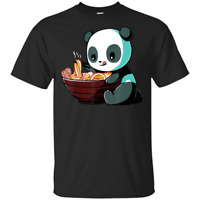 Ramen T-Shirt Panda Black T-Shirt Size M-3XL Kawaii Anime Tee Japanese Gifts