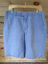 """Ralph Lauren Polo Dusty Blue Linen & Silk Blend Flat Front Shorts Men's 34 x 10"""""""