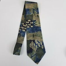 Geoffrey Beene Mens Tie Blue Green Abstract 100% Silk