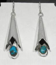Big Vintage 1930s Navajo Handmade 925 Silver Turquoise Squash Blossom Earrings