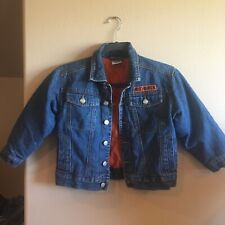 Kids Sz 6 Official HD HARLEY DAVIDSON Button Jean Jacket Patch LOGO Quilt LINED