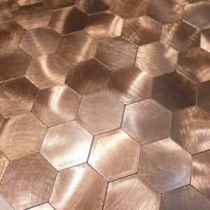 Self-adhesive Mosaic Aluminium Large Hexagon Bronze Kitchen Feature Tiles