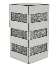 Diamond Crush Crystal Square Silver Mirrored Cube  Side Table 61cm Tall