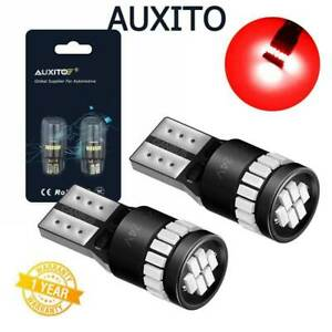 2x AUXITO Red T10 Wedge Parking Map Dome License LED Light Bulb 194 168 2825 W5W