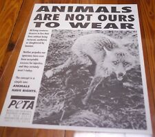 Vtg Activist PETA Animals Are Not Ours To Wear Anti Fur No Meat Vegan POSTER