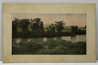 Picturesque View Lake River Tinted Photo to Douglas North Dakota Postcard D16