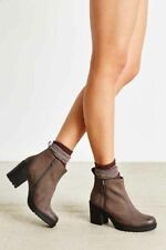 Vagabond Grace Doubke Zip Brown Burnished Nubuck Ankle Boots Chunky Heels 40 New