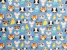 "New 100% Cotton, 45"", Timeless Treasures, Blue w Pets, Cats, Guinea Pigs, Birds"
