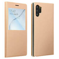 Smart view window flip case for Samsung Galaxy Note 10 Plus, slim cover - Gold