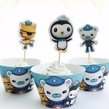 12x Octonauts Cupcake Topper + Wrapper. Party Supplies Lolly Bag Bunting Cake