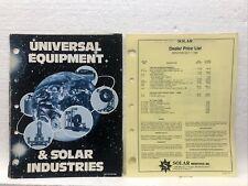 1981 VTG Universal Equipment Solar Indust Automotive Tool Catalog + price list