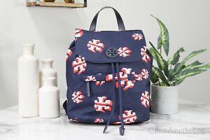 Tory Burch (76983) Nylon Crazy Logo Allover Printed Flap Drawstring Backpack Bag