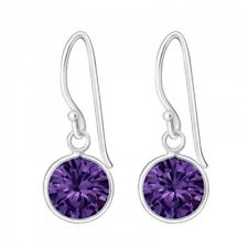 Round Drop/Dangle Earrings (Des 2) 925 Sterling Silver Amethyst Cubic Zirconia