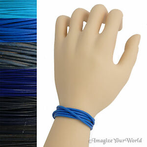 Blue Leather Cord Multi Wrap Bracelet Custom Handmade to 72 inches USA necklace