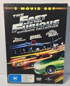 The Fast And The Furious DVD 3 X Disc Set - Car Racing Tokyo Drift Movie Reg 4