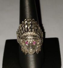 VINTAGE STERLING SILVER NATIVE INDIAN CHIEF RING SIZE 10.25