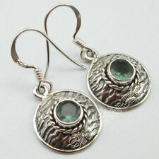 """925 Stamp Solid Sterling Silver Green 5 x 5 mm Apatite Drop Dangle Earrings 1.2"""""""
