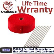 "2"" x 50FT Exhaust Header Fiberglass Heat Wrap Tape Thermal 10 Steel Ties Kit Red"