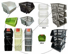 Plastic Stacking Stackers Storage Baskets Rack Stand 35cm Kitchen Vegetable Cream 4