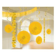 18 x Sunshine Yellow Hanging Paper & Foil Party Decorations Easter Decorations