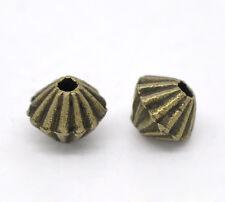 20x Metallperlen Spacer beads bronzefarben Doppel Kegel 4x5mm  Schmuck Basteln