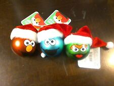 3 Sesame Street Character Ball Ornaments Elmo Cookie Monster & Oscar the Grouch
