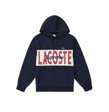 Supreme LACOSTE Logo Panel Hooded Sweatshirt MEDIUM NAVY IN HAND NEW