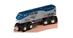 "Wooden Amtrak Train GE Genesis P42 #207 Locomotive 4.25"" Compatible w/ other RR"