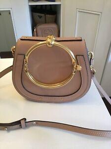 Chloé Small Nile Leather Suede Bracelet Wristlet Bag Biscotti Beige