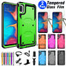 For Samsung Galaxy A10e Protective Hybrid Rugged Hard Case Cover+Tempered Glass