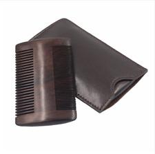 Mens Ebony Sandalwood Comb Beard Hair Brush Leather Case Fashion Style Barber