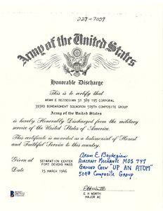 Aram Bezdegian Signed Discharge Document BAS D87512 Up an Atom Manhattan Project
