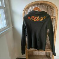 Free People Embroidered Lambswool Cardigan Jacket Women's Size Medium Floral