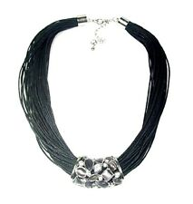Black Cord Necklace Crystal Bar Pendant Costume Dress Statement Jewellery Women